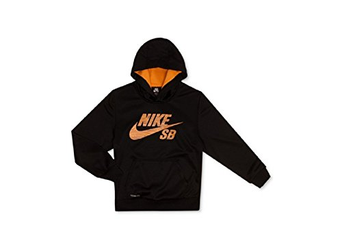 Nike Action Boys' Wood-Grain Logo Therma-FIT Hoodie Small by NIKE
