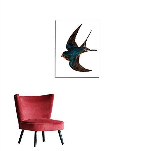 longbuyer Wallpaper Barn Swallow - Hand Coloured Engraving Mural ()