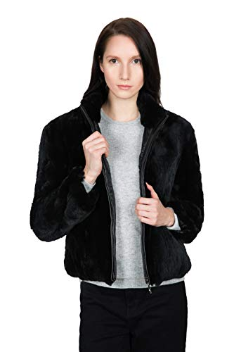 OBURLA Womenâs Real Rex Rabbit Fur Jacket - with Genuine Leather Accented Zipper and Mandarin Collar (Medium)