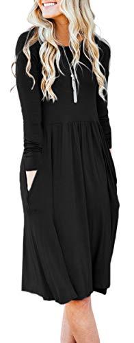 NENONA Womens Long Sleeve Pocket Empire Waist Pleated Loose Swing Casual Flare Midi Dress (Black-XXL)