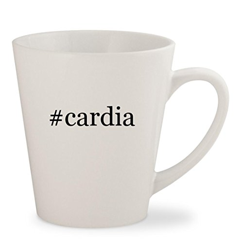 #cardia - White Hashtag 12oz Ceramic Latte Mug - Glasses Cardias