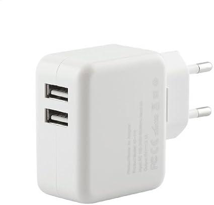 iProtect Original USB Ladegerät 2000mA einsetzbar als Netzteil Ladekabel Ladeadapter 2,0A weiß für iPad, iPhone, Android Phones Tablets, Smartphone,