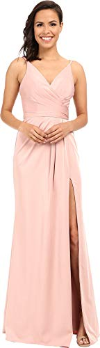 Faviana Women's Faille Satin V-Neck Gown With Draped Skirt Dusty Pink Dress 10