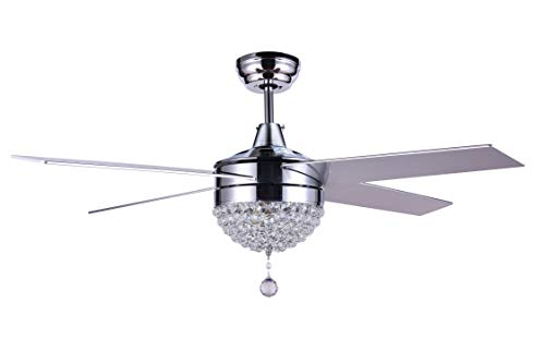 Bella Depot 48 Modern Crystal Ceiling Fan With LED Light, Remote Control, CCT Dimmable, Reversible Motor Reversible Blades
