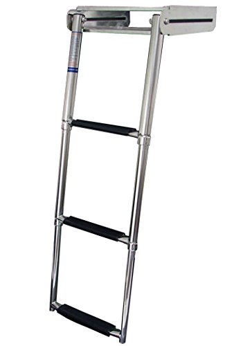 MARINE BOAT STAINLESS STEEL 3 STEP TELESCOPIC LADDER OVER PLATFORM
