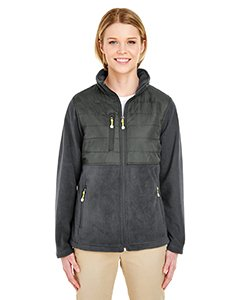 UltraClub womens Fleece Jacket with Quilted Yoke Overlay(8493)-CHARCOAL-L