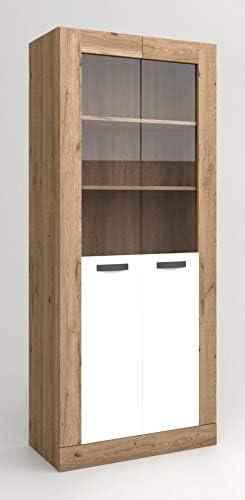 Miroytengo Vitrina Argos 2 Salón Comedor 2 Puertas Color Blanco Mate y Naturale Aparador Moderno 191x80x40 cm
