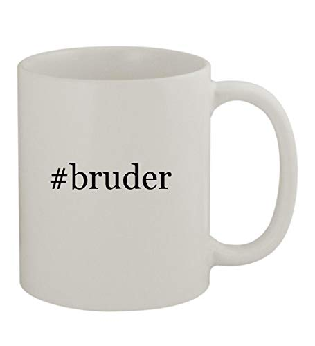 (#bruder - 11oz Sturdy Hashtag Ceramic Coffee Cup Mug, White)