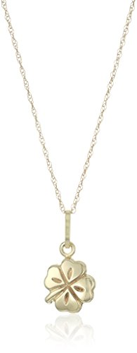 14k Yellow Gold Four Leaf Clover Pendant Necklace, 18