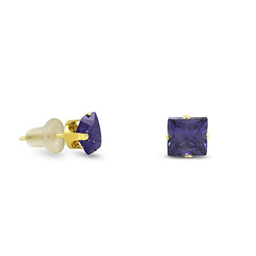 Crookston 10k Yellow Gold Square Stud Earrings -Purple Amethyst ~February Birthstone | Model ERRNGS - 14900 | 4mm - Medium