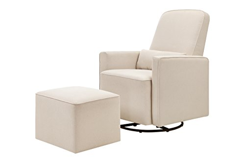 Cheap DaVinci Olive Upholstered Swivel Glider with Bonus Ottoman, Cream