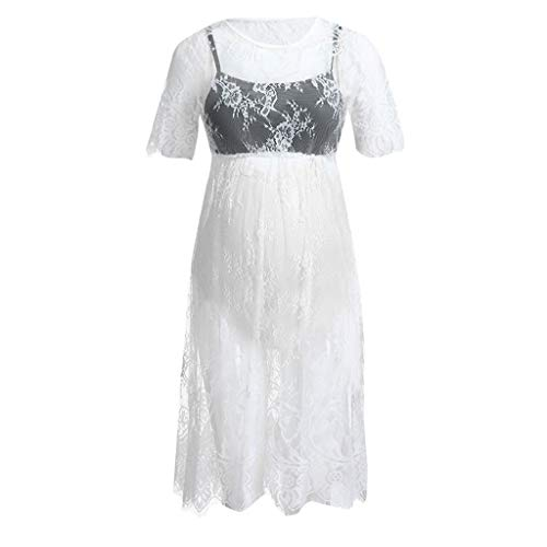 ❤️Youliwj❤️ Women's Short Sleeve Maternity Floral Lace Knee Length Casual Dress White