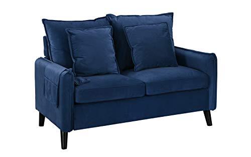 (Modern Living Room Brush Microfiber Loveseat Sofa (Navy))