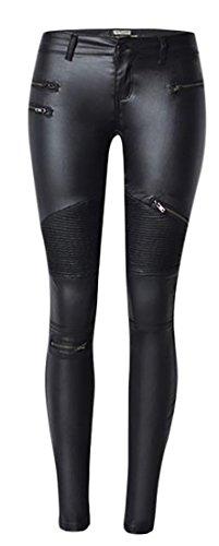 (Papijam Womens Biker Faux Leather Denim Skinny Zip Spliced Legging Pant Black)