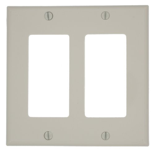 - Leviton 80409-NT 2-Gang Decora/GFCI Device Wallplate, Standard Size, Light Almond