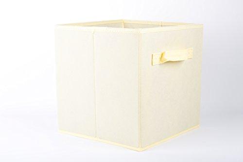 J&C LIFE Foldable Closet Drawer Storage Organizer Cube Busket Bin,2 Pack,Beige