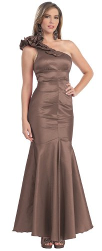 One Shoulder Prom Dress 2011 - One Shoulder Formal Party Gown Prom Dress #845 (8, Brown)
