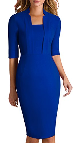 homeyee-womens-classy-short-sleeve-official-sheath-casual-pencil-dress-693-10-blue