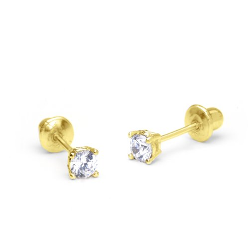 14k Yellow Gold 3mm Basket Round Solitaire Cubic Zirconia Children Screw Back Baby Girls Earrings 14k Yellow Gold Baby Earrings