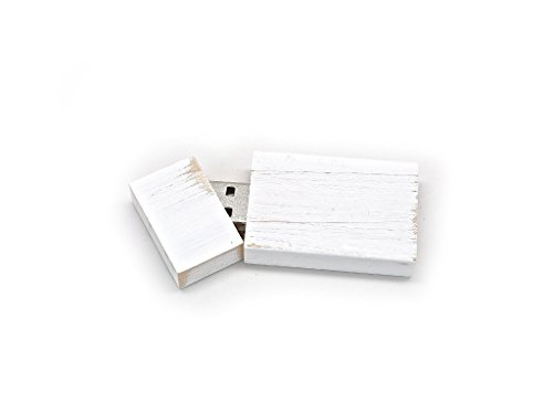 Antique Maple 8GB USB Flash Drive - Stained in Wedding White - Inserted into a Matching Maple Box Stained White with Raffia grass inside.