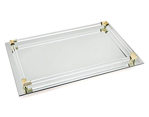 (Studio Silversmith Mirror Vanity Tray with Gold Plated Accents - 8