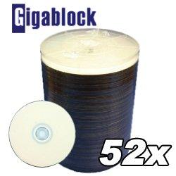 600pcs Gigablock CD-R 52x 700MB 80Min White Inkjet Hub printable top