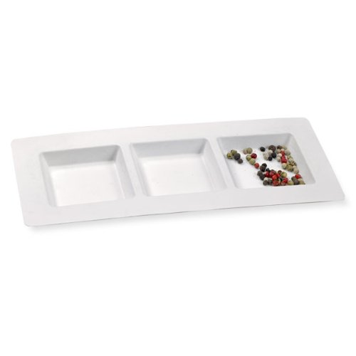 Packnwood Sugarcane 3 Compartment Plate, White, 10.2'' x 4.3'' (Case of 250) by PacknWood