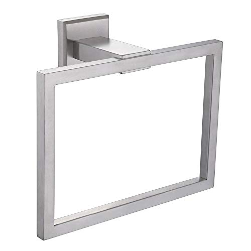 Square Towel Ring, APLusee SUS 304 Stainless Steel Modern Kitchen Hand Towel Hanger, Bathroom Accessories Space Saver, Brushed Nickel