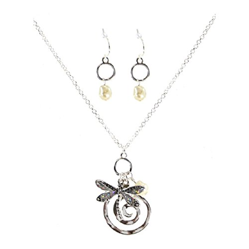 pricegems Silver Finish Spiral Simulated Pearl Glitter Dragonfly Pendant Necklace Earring Set 'Enchanted Dragonfly'