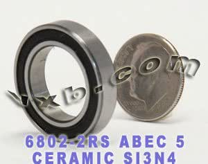 KHJK Durable Flexible 6802 Full Ceramic Bearing 15x24x5mm ZrO2 Material 6802CE All Zirconia Ceramic Ball Bearings 1PC