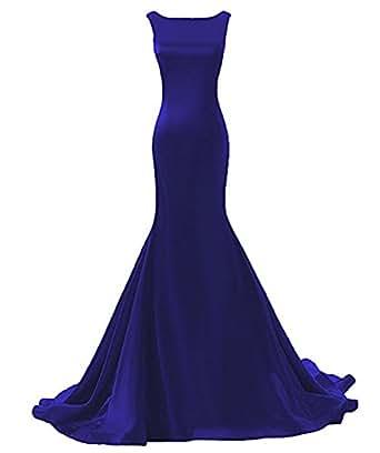 DreHouse Women's Scoop Backless Mermaid Evening Dress Long Prom Dresses Plus Size