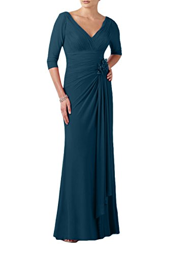Brau Promkleider Abendkleider La Lang mia Ausschnitt Partykleider Abschlussballkleider Jugendweihe V Elegant Blau Dunkel Kleider 45Cq5