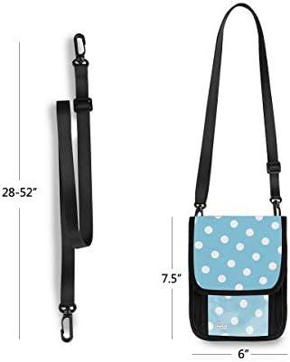 トラベルウォレット ミニ ネックポーチトラベルポーチ ポータブル 水色 ブルー ドット柄 水玉 小さな財布 斜めのパッケージ 首ひも調節可能 ネックポーチ スキミング防止 男女兼用 トラベルポーチ カードケース