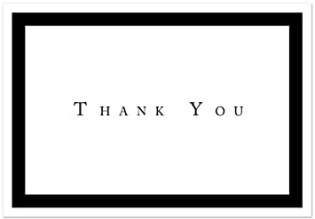 Amazon.com : Formal Black Thank You Note Cards - 48 Cards ...