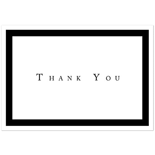 Formal Black Thank You Note Cards   48 Cards U0026 Envelopes