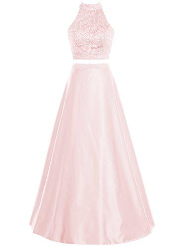 Bbonlinedress Vestido De Fiesta Nochevieja Ceremonia Halter Dos Piezas Satén Rosa