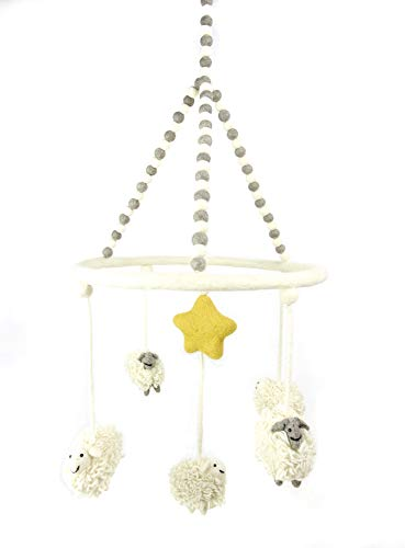 PopLife Counting Sheep Baby Crib Mobile - 100% New Zealand Organic Wool, Handmade Nursery Decoration