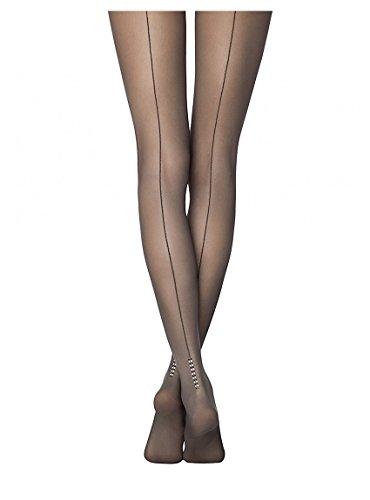 Rhinestone Back Seam Pantyhose - Conte elegant Fantasy Milano Women's Sheer Back Seam Pantyhose with Rhinestones Design, Black, Large