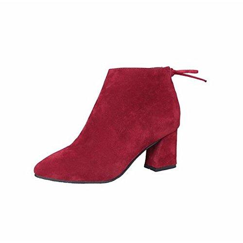 combate nubuck Toe señaló básica de Mid Invierno para Casual HSXZ talón Mujer de cuero Chunky Otoño Calf botas de bomba de Zapatos café de botas botas Gray gris negro q7xxZ1wUY