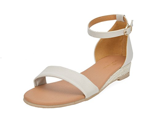 DREAM PAIRS Women's Formosa_10 Nude Low Platform Wedges Ankle Strap Sandals Size 8 B(M) US by DREAM PAIRS