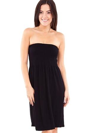 Strapless Seamless Black Smocking Tube Dress at Amazon Women&39s ...