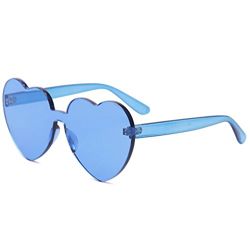- SOJOS One Piece Heart Shaped Rimless Sunglasses Transparent Candy Color Eyewear SJ2055 with Blue