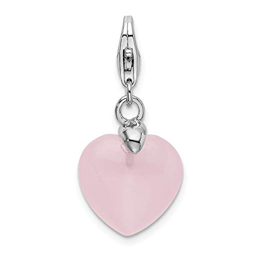 925 Sterling Silver Rose Quartz Heart Lobster Clasp Pendant Charm Necklace Love Fine Jewelry Gifts For Women For Her