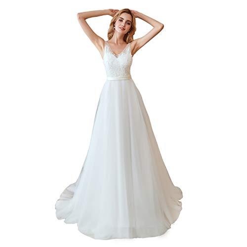 Leyidress Women's New V Neck Wedding Dress Applique Court Train Bridal Gowns Ivory Beach Wedding Dresses (New Bridal Fitted Wedding Gown)
