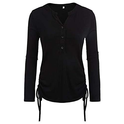 Sunhusing Women's Solid Color Buttoned Long Sleeve T-Shirt Drawstring Hem Top Blouse -