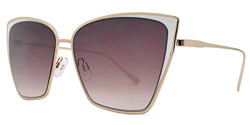 (Fashion Eyelinks - Modern Metal Boxed Cat Eye Sunglasses (White Frame + Brown Lens))