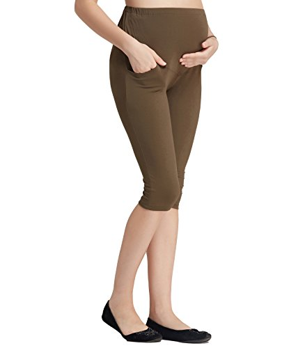 Liang Rou Maternity Belly Support Mini-Ribbed Stretch Capri Leggings Olive Green