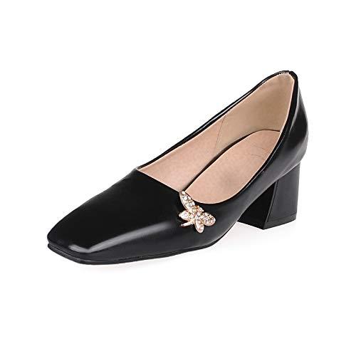 Heel White Pump Rhinestone Black Pink Shoes Polyurethane Toe Basic Square Fall Spring Black amp; Light Chunky Heels Party Women's Evening PU ZHZNVX amp; c8qCx6ZPw8