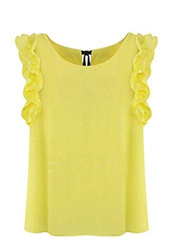 Las Mujeres Camisas Blusa De La Camiseta De La Gasa Ocasionales De La T Shirts Tops Amarillo