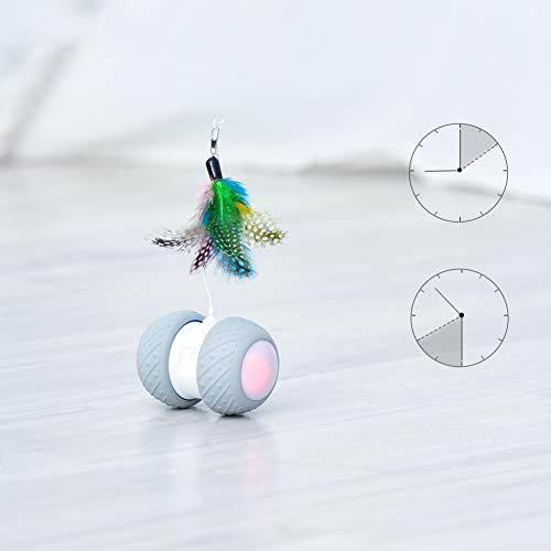 Cat Interactive Toy-Smart Interactive Cat Feather Toys Upgraded USB Charging 360 Degree Self Rotating Automatic LED Light Ball Toy for Pet Entertainment Hunting Exercise-Battery Included 5